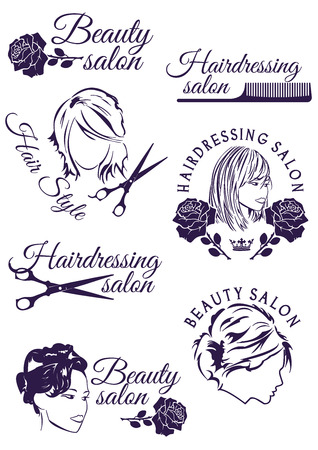 flower logo: Set of beauty and hairdressing salon purple round badges isolated on white background. Collection of elements for company logos, print products, page and web decor. Vector illustration. Illustration