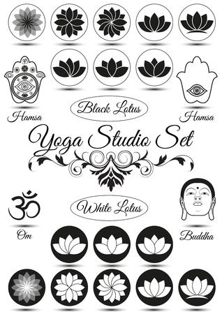 flor de loto: Conjunto de elementos negros del estudio de yoga aislados sobre fondo blanco. Con hamsa, loto, mandala. Colecci�n de insignias y elementos para logotipos de empresas, productos impresos, p�gina y la decoraci�n web. Ilustraci�n vectorial Vectores