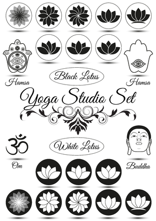 Set of yoga studio black elements isolated on white background. With hamsa, lotus, mandala. Collection of badges and elements for company logos, print products, page and web decor. Vector illustration