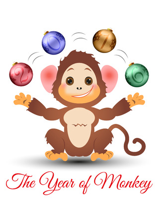 juggle: Happy little monkey juggling with christmas baubles with year 2016 numbers on it. Can be used for logos, cards, page and web decor. Vector illustration isolated on white background