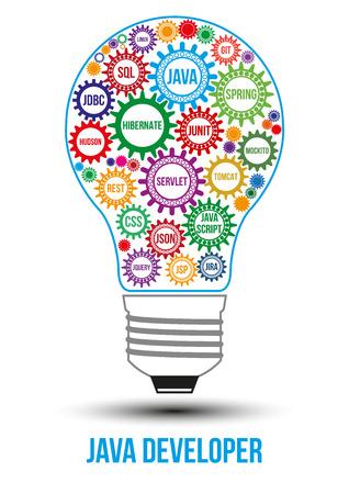 Color engranajes de tecnología java interconectadas compuestas en forma de bombilla para simbolizar la idea de trabajo en colaboración para solucionar cualquier problema. El uso para logotipos, identidad del negocio, productos de impresión.