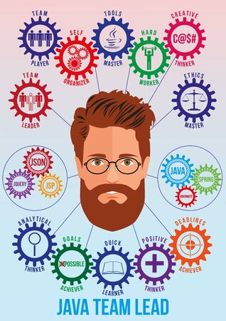 Java team leader picture with tech stack and employee traits as interconnected colored gears symbolizing ability to solve coding problem. Use for logotypes, business identity, print products. Vector. Illustration