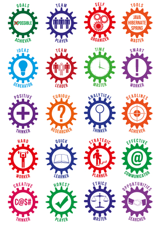 searcher: Employee best traits badges of different colors isolated on white background. Can be used by recruiting companies or recruiters for logotypes, business identity, print products, page and web decor. Illustration