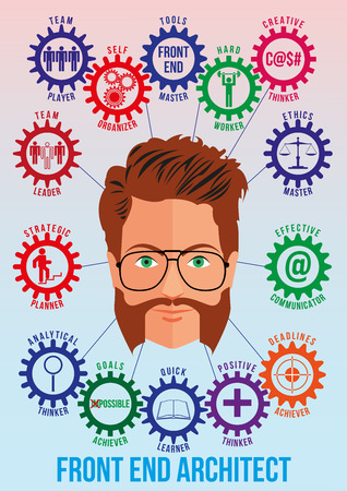 Front end architect picture with tech stack and employee traits as interconnected colored gears symbolizing ability to solve coding problem. Use for logotypes, print products. Vector.