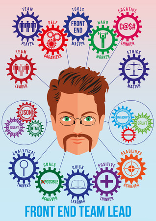 achiever: Front end team lead picture with tech stack and employee traits as interconnected colored gears symbolizing ability to solve coding problem. Use for logotypes, print products. Vector.