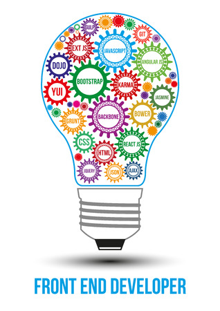 js: Interconnected colored front end technology gears composed in form of light bulb to symbolize idea of collaborative work to solve any problem. Use for logotypes, business identity, print products.