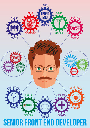 achiever: Front end senior developer picture with tech stack and employee traits as interconnected colored gears symbolizing ability to solve coding problem. Use for logotypes, print products. Vector.