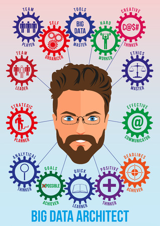 traits: Big data architect picture with tech stack and employee traits as interconnected colored gears symbolizing ability to solve big data problem. Use for logotypes, print products. Vector. Illustration