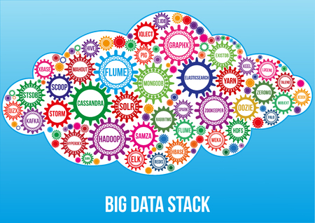 Interconnected colored big data technology gears composed in form of cloud to symbolize idea how all this technologies combined solve data problem. Use for logotypes, business identity, print products Illustration