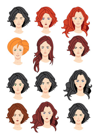 amazement: Set of beautiful women portraits isolated on white background. Collection can be used by companies for logotypes, business identity, print products, page and web decor or other design. Illustration
