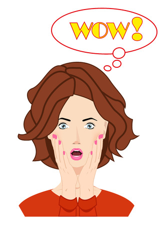 wow: Surprised beautiful woman face with open mouth and hands covering her face. WOW bubble and expression, look and word. Use for for company, print products, page and web decor or other design.