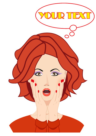 Surprised beautiful woman face with open mouth and hands covering her face. YOUR TEXT bubble. WOW expression and look. Use for for company, print products, page and web decor or other design.