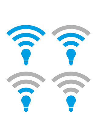 li: Set Of Li-Fi and wireless access icons. Li-Fi zone signs with different availability levels. Can be used for company logos, business identity, print products, page and web decor or other design. Illustration