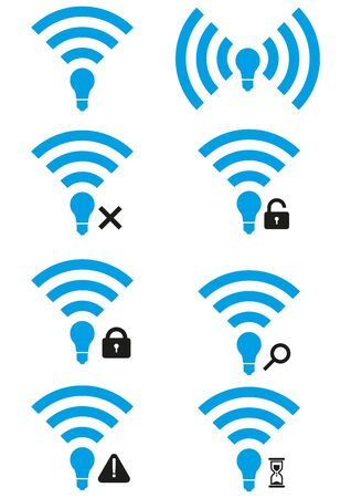 access point: Set of Li-Fi wireless access icons. Li-Fi zone signs with different availability levels. Search Li-Fi icon. Li-Fi access granted and access denied icons. Li-Fi wait icon.
