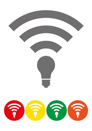 li: Set of colored Li-Fi and wireless access icons. Li-Fi zone signs set of different colors. Can be used for company logos, business identity, print products, page and web decor or other design.