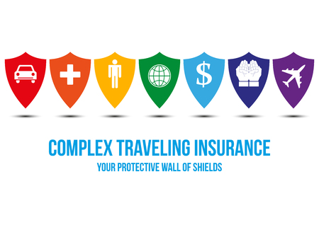Complex traveling insurance design concept with wall of shields, every shield symbolizes protection for different areas traveler can encounter around the world: car, health, person, money, plane.