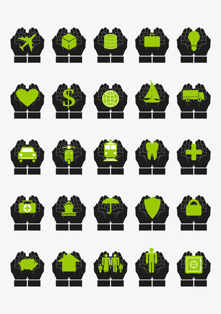 family policy: Protective hands insurance set. Every icon composed of protective hands covering something, like transport, cargo, savings, health, family, house, income, savings. Vector isolated on white background
