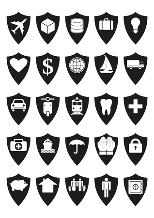 protective shield: Protective shields insurance set. Every icon composed of protective shield covering something, like transport, cargo, savings, health, family, house, income, savings. Isolated vector. White background