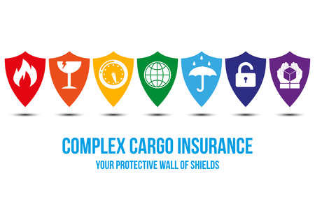 Cargo insurance desing concept with wall of shields that symbolased protection for different  cargo problems: fragile, fire, water, theft, time - protective hands will take care around the world. Illustration