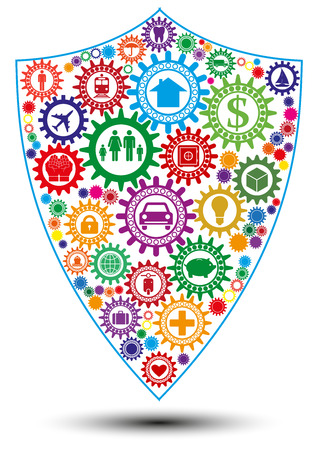 Insurance design concept in form of shield composed of interconnected colored gears symbolizing ability to protect any active: personal, financial, transport. Use for print products. Illustration