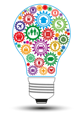 family policy: Insurance design concept in form of light bulb composed from interconnected colored gears symbolizing ability to solve insurance problem. Use for  print products.