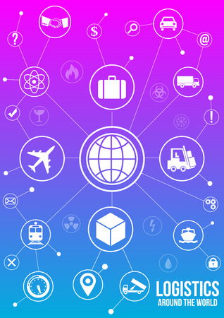 quick money: Logistics service design concept. Quick delivery of any type of cargo around the world using all possible kinds of transport to save clients time and money. White icons isolated on gradient background