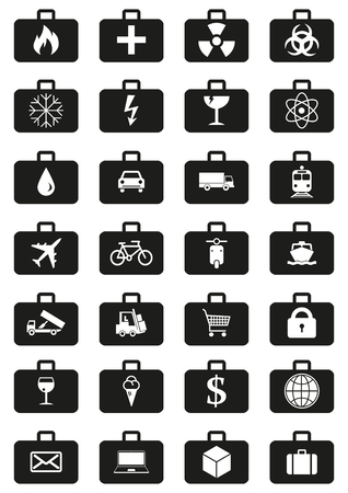 quick money: Logistics service icons set represented by suitcases with logistics symbols. Quick delivery of any type of cargo around the world using all possible kinds of transport to save clients time and money. Illustration