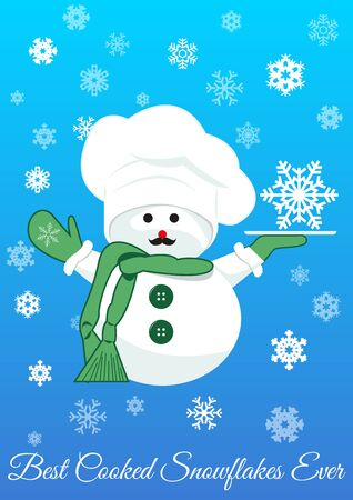 Snowman in green scarf with silver tray holding snowflake. Symbol of winter, snow, new year and christmas. isolated on blue gradient background filled with snowflaces.