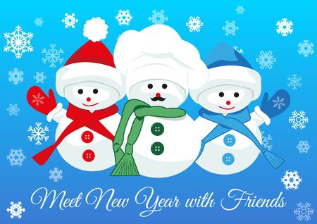 greet: Cute snowmen friends wearing scarfs and mittens greet new year holding together. Design concept of friendship, new year and joy of seeing dear people. isolated on gradient blue background. Illustration