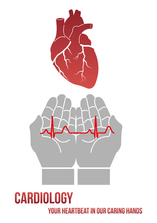 human vein  heartbeat: Your heartbeat in our caring hands. Design concept for clinic or cardiology department in form of human hand carefully holding cardiogram line.
