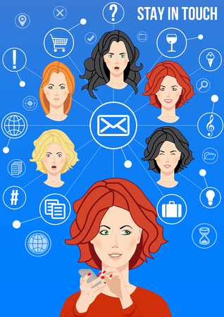 receipts: Stay in touch design concept - beautiful women connects with her friends via email and social network sharing news, ideas, receipts, places, questions and answers. Concept of friendship via network