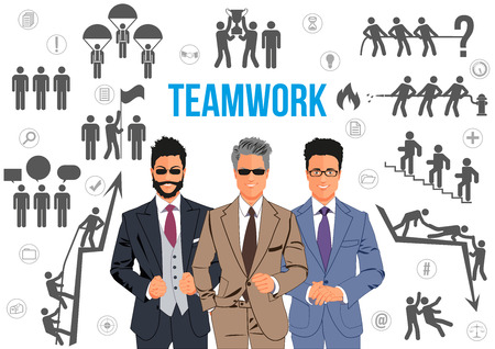 working together: Teamwork design concept - team of business professionals working together and helping each other in times of prosperity or crisis. Together they are able to achieve more ambitious goals