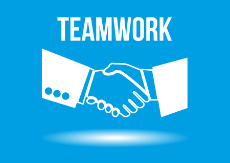 able: Teamwork shaking hands design concept - team of business professionals working together and helping each other in times of prosperity or crisis.Together they are able to achieve more ambitious goals