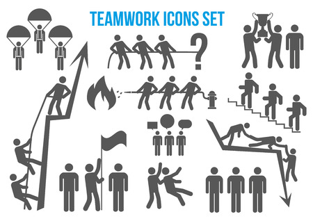 Teamwork icons set - team of business professionals working together and helping each other in times of prosperity or crisis. Together they are able to achieve more ambitious goals