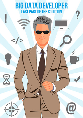 confident man: Big data developer design concept. Nice looking confident man surrounded with icons with different components of programming. That man is last part of the solution that will connect other components. Illustration
