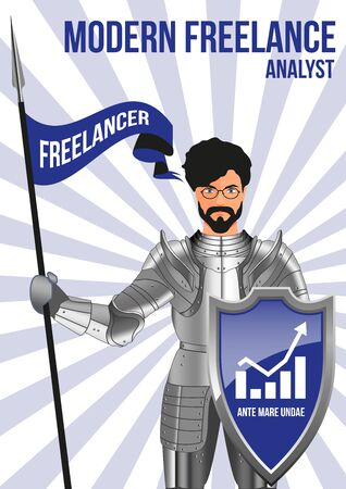 confident man: Analyst freelancer design concept. Confident man wearing armor and glasses, holding lance and shield. Mix of modern and vintage - he is ready to pick any job. Title - WAVES BEFORE SEA