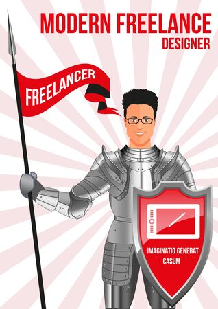confident man: Designer freelancer design concept. Confident man wearing armor and glasses, holding lance and shield. Mix of modern and vintage - he is ready to pick any job. His title IMAGINATION CREATES EVENTS Illustration
