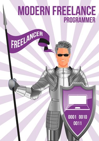 programmer: Programmer freelancer design concept. Confident man wearing armor and glasses, holding lance and shield. Mix of modern and vintage - he is ready to pick any job and deliver on time. Illustration