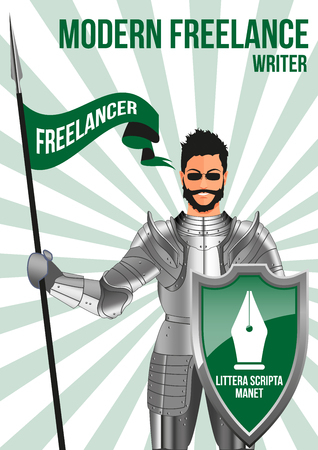 shield: Writer freelancer design concept. Confident man wearing armor and glasses, holding lance and shield. Mix of modern and vintage - he is ready to pick any job. Title - WRITTEN LETTER REMAINS Vectores