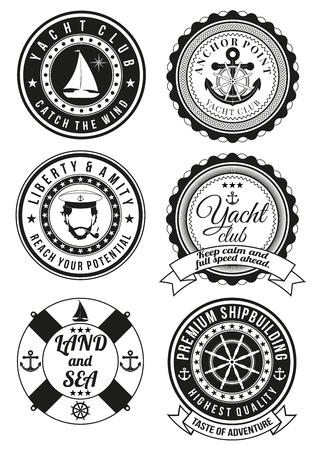 timon barco: Conjunto de club náutico negro y placas redondas tema del mar aislados en el fondo blanco. Colección de elementos para productos de impresión de la empresa, la página web y la decoración o el otro diseño. ilustración.