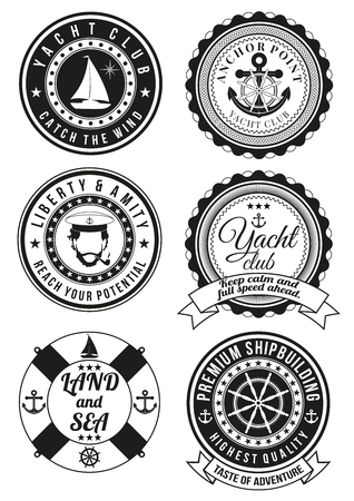 yacht: Set of black yacht club and sea theme round badges isolated on white background. Collection of elements for company  print products, page and web decor or other design. illustration.