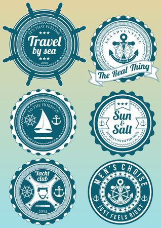 sailing: Set of colored yacht club and sea theme round badges isolated on gradient background. Collection of elements for company, print products, page and web decor or other design. Illustration