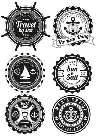 sailing: Set of black yacht club and sea theme round badges isolated on white background. Collection of elements for company , print products, page and web decor or other design. illustration.