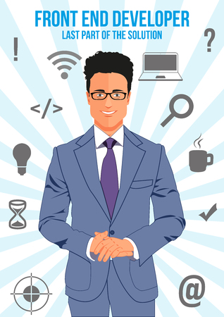 front end: Front end developer design concept. Nice looking confident man surrounded with icons with different components of programming. That man is last part of the solution that will connect other. Illustration