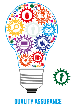 QA engineer design concept. Light bulb composed of interconnected gears with different components of quality assurance. Last gear is missed - that will connect all of them - last part of solution. Illustration