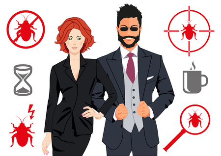 eliminate: Code quality assurance team design concepts. Confident nice looking man and woman as quality assurance team that will be able to spot and eliminate any bug. Can be used in print and web design.