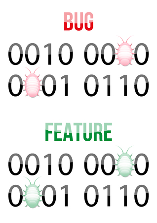 replacing: Bug in code design concept. Binary code representing number 2016 with red bugs replacing some zeroes - bugs.  Binary code representing number 2016 with green bugs replacing some zeroes - features. Illustration