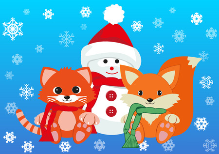greet: Snowman, kitten and fox wearing scarfs greet new year holding together. Design concept of friendship, new year and joy of seeing each other . Vector isolated on gradient blue background.