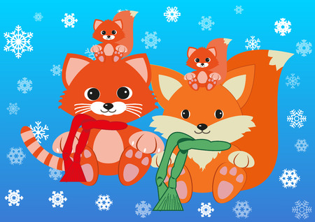greet: Cat, foxy and their children wearing scarfs greet new year holding together. Design concept of family, friendship, new year and joy of seeing your dears . Vector isolated on gradient blue background.