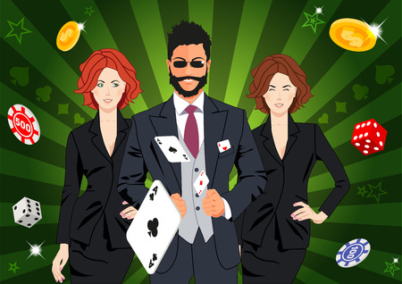 ace of spades: Confident lucky man surrounded by beautiful women throws aces. Design concept for gambling luck ans successful play. Use for print products, page and web decor or other design.